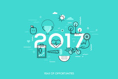 Infographic concept 2017 year of opportunities. Infographic banner 2017 year of opportunities. New trends and prospects in healthcare, sports, fitness, lifestyle Stock Images