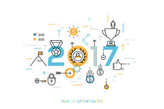 Infographic concept 2017 year of opportunities. Infographic banner 2017 year of opportunities. New trends and prospects in leadership and successful business Royalty Free Stock Photography