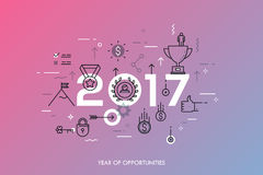 Infographic concept 2017 year of opportunities. Infographic banner 2017 year of opportunities. New trends and prospects in leadership and successful business Royalty Free Stock Photo