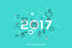 Infographic concept 2017 year of opportunities. Infographic banner 2017 year of opportunities. New trends and prospects in leadership and successful business Stock Image