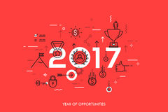 Infographic concept 2017 year of opportunities. Infographic banner 2017 year of opportunities. New trends and prospects in leadership and successful business Stock Photos