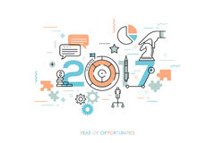 Infographic concept 2017 year of opportunities. Future trends and prospects in business challenges, strategies, international networking, communication. Vector Royalty Free Stock Images