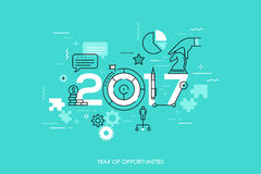 Infographic concept 2017 year of opportunities. Future trends and prospects in business challenges, strategies, international networking, communication. Vector Stock Photos