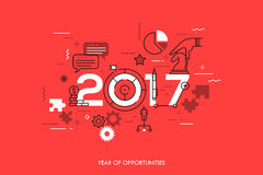 Infographic concept 2017 year of opportunities. Future trends and prospects in business challenges, strategies, international networking, communication. Vector Royalty Free Stock Photography