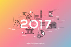 Infographic concept, 2017 - year of opportunities. New hot trends and predictions in economics, budget planning, money. Saving, tax and credit debt paying off Royalty Free Stock Images
