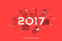 Infographic concept, 2017 - year of opportunities. New hot trends and predictions in economics, budget planning, money. Saving, tax and credit debt paying off Stock Photos