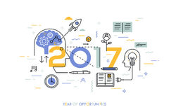 Infographic concept, 2017 - year of opportunities. New trends in idea generation, time management, experience exchange. Self-education and self-development vector illustration