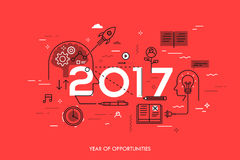 Infographic concept, 2017 - year of opportunities. New trends in idea generation, time management, experience exchange. Self-education and self-development stock illustration