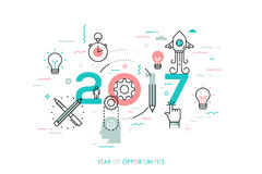 Infographic concept, 2017 - year of opportunities. New trends and predictions in startups, idea generation, innovations. Modern thinking. Plans and prospects Royalty Free Stock Image