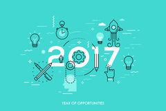 Infographic concept, 2017 - year of opportunities. New trends and predictions in startups, idea generation, innovations. Modern thinking. Plans and prospects Stock Images