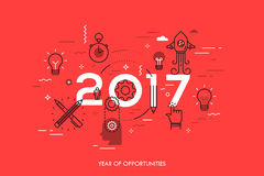 Infographic concept, 2017 - year of opportunities. New trends and predictions in startups, idea generation, innovations. Modern thinking. Plans and prospects Royalty Free Stock Photography