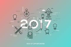 Infographic concept, 2017 - year of opportunities. New trends and predictions in startups, idea generation, innovations Royalty Free Stock Photo