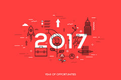 Infographic concept, 2017 - year of opportunities. New trends and prospects in career building, job searching. Headhunting, recruitment or employment services Royalty Free Stock Photos