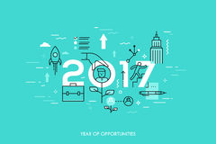 Infographic concept, 2017 - year of opportunities. New trends and prospects in career building, job searching. Headhunting, recruitment or employment services Stock Photos