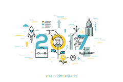 Infographic concept, 2017 - year of opportunities. New trends and prospects in career building, job searching. Headhunting, recruitment or employment services Stock Images