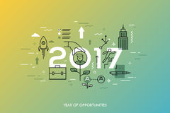 Infographic concept, 2017 - year of opportunities. New trends and prospects in career building, job searching. Headhunting, recruitment or employment services Stock Photography