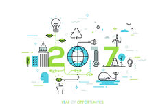 Infographic concept 2017 year of opportunities. New trends and prospects in environmental and eco-friendly technologies, energy saving, ecological recycling Stock Images
