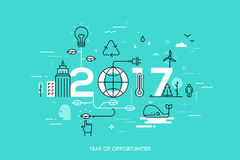 Infographic concept 2017 year of opportunities. New trends and prospects in environmental and eco-friendly technologies, energy saving, ecological recycling Royalty Free Stock Images