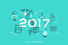 Infographic concept, 2017 - year of opportunities. New trends, prospects and predictions in science, scientific studies. Schooling system and higher education vector illustration