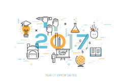 Infographic concept, 2017 - year of opportunities. New trends, prospects and predictions in science, scientific studies Stock Image
