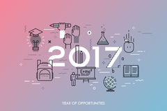 Infographic concept, 2017 - year of opportunities. New trends, prospects and predictions in science, scientific studies Royalty Free Stock Images