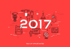 Infographic concept, 2017 - year of opportunities. New trends, prospects and predictions in science, scientific studies Stock Images