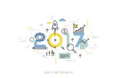 Infographic concept 2017 year of opportunities. New trends and prospects in startups, business development, profit growth strategies. Plans and expectations Stock Photos