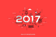 Infographic concept 2017 year of opportunities. New trends and prospects in startups, business development, profit growth strategies. Plans and expectations Stock Image