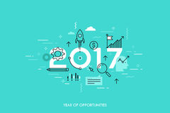 Infographic concept 2017 year of opportunities. New trends and prospects in startups, business development, profit growth strategies. Plans and expectations Royalty Free Stock Images