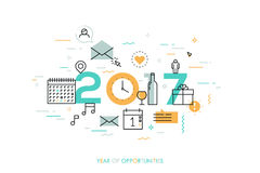 Infographic concept 2017 year of opportunities. Plans and expectations for holidays, new years party, vacation. Gifts and surprises. Vector illustration in Stock Photography