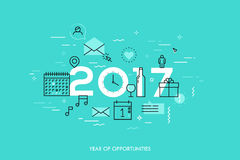 Infographic concept 2017 year of opportunities. Plans and expectations for holidays, new years party, vacation. Gifts and surprises. Vector illustration in Stock Photos