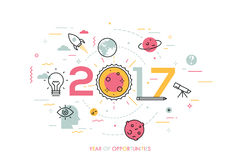 Infographic concept, 2017 - year of opportunities. Trends and prospects in space research and exploration, scientific. Studies, astronomy, spacecraft launches Stock Photo