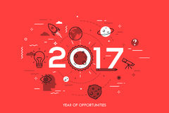 Infographic concept, 2017 - year of opportunities. Trends and prospects in space research and exploration, scientific. Studies, astronomy, spacecraft launches Stock Photography