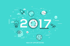 Infographic concept, 2017 - year of opportunities. Trends and prospects in space research and exploration, scientific. Studies, astronomy, spacecraft launches Royalty Free Stock Photos