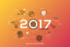 Infographic concept, 2017 - year of opportunities. Trends and prospects in space research and exploration, scientific. Studies, astronomy, spacecraft launches Royalty Free Stock Photography