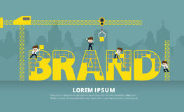 Infographic construction of brand. Infographic crane construction of brand royalty free illustration