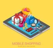 Infographic consumerism för plan isometrisk shopping för vektor 3d mobil Arkivfoton