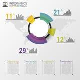 业务设计的抽象圆形统计图表图表 现代infographic模板 也corel凹道例证向量 免版税库存照片