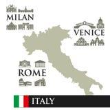 Infographic Correspondencia de contorno de Italia Ve los símbolos de la ciudad, cerca de la ciudad Milán, Roma, Venecia libre illustration