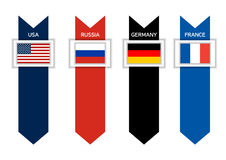Infographic with 4 countries of G8 - USA, Russia, Germany and F Stock Photography