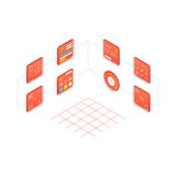 Infographic creating a projec isometric style. A set of icons, a picture for business, infographic, the process of creating, solving a problem, creating a Stock Photo