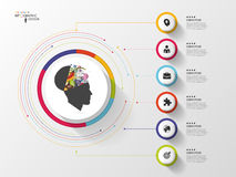 Infographic. Creative head. Colorful circle with icons. Vector.  stock illustration