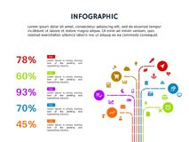 Infographic cute template and powerpoint full color royalty free stock photography