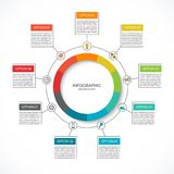 Infographic cycle diagram. Process chart with 9 options. Vector circle template for business infographics. Can be used for graph, presentation, report, step Royalty Free Stock Image