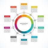 Infographic cycle diagram. Process chart with 10 options. Vector circle template for business infographics. Can be used for graph, presentation, report, step Royalty Free Stock Photo