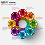 Infographic cycle diagram vector design template. Can be used for workflow layout, data visualization, business concept with 6 options, parts, steps or Royalty Free Stock Photos
