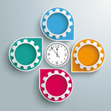 Infographic Cycling Dropmarkers Clock Gears. Infographic design white markers, clock and gears on the gray background Stock Photography