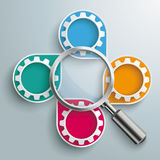 Infographic Cycling Dropmarkers Loupe Gears. Infographic design white markers, loupe and gears on the gray background Royalty Free Stock Photography
