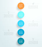 Infographic 5 3d Circle Steps Hanging Template B. 1 to 5 numbered vertical hanging sign steps with space for text and editable transparent Drop shadows on a Royalty Free Stock Image
