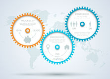 Infographic 3d Cogs With Dots World Map Back Drop A. Infographic 3d cogs with business icons on a back drop with a world map made of dots and editable Stock Image
